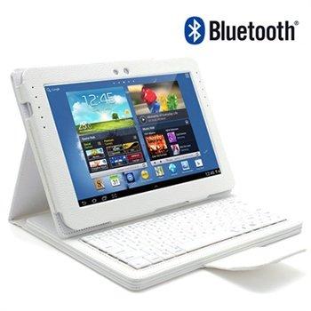 Samsung Galaxy Note 10.1 N8000, N8010 Bluetooth Tastatur / Lærveske - Hvit