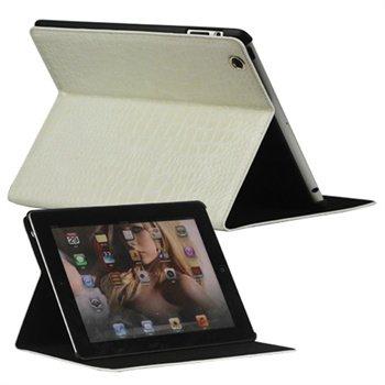 Folio Lærveske - iPad 2, iPad 3, iPad 4 - Crocodile Hvit