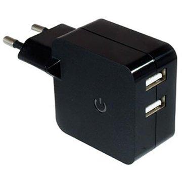 Dinic Dobbel USB Reiselader - Svart