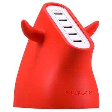 Momax U.Bull Ultra Fast USB Lader - 5-Port - Rød