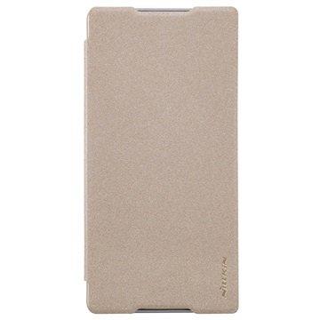 Sony Xperia C5 Ultra Nillkin Sparkle Series Smart Flip Veske - Gull