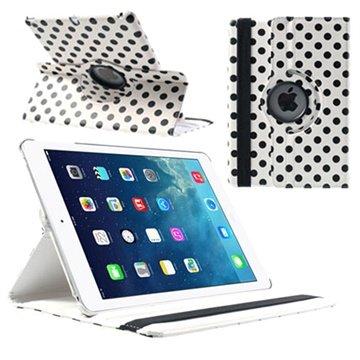 iPad Air Polka Dot Rotary Smart L?rveske - Svart / Hvit