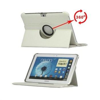 Samsung Galaxy Note 10.1 N8000, N8010 Rotary Lær Veske - Hvit