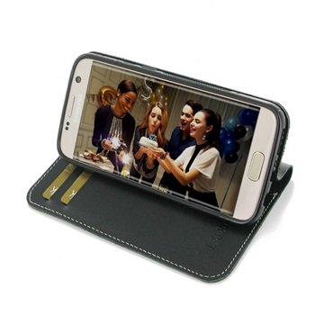 Samsung Galaxy S7 PDair Deluxe Book Type Lærveske - Svart