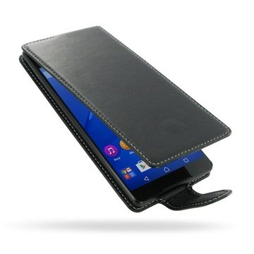 Sony Xperia C5 Ultra PDair Deluxe Flip Lærveske - Svart