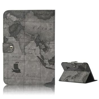 Verdenskart Lærveske - Samsung Galaxy Note 10.1 N8000, N8010, N8020 - Grå