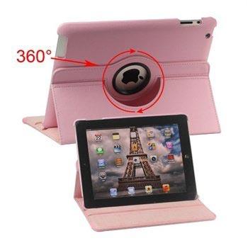 Rotary Lær Veske - iPad 2, iPad 3, iPad 4 - Rosa