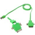 4 in 1 USB Kabel - Lightning, 30-pin, MicroUSB 2.0, MicroUSB 3.0 - Gr�nn